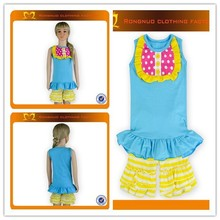 Cute Toddler Gilrs Boutique Set Blue tops + yellow stripes ruffle pants outfits Children 2 pieces summer cotton clothes
