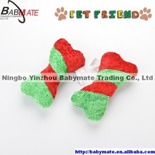 BMP0118 Ningbo BABYMATE Christmas Bone Plush Polyester Dog Play Chew Toy Durable Chewing Pet Squeaker Outdoor Activity