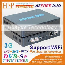 3G iks sks satellite hd receivers for south america Azfree duo with iptv 3G iks sks