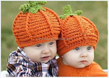 Halloween Newborn baby handmade crochet yellow winter hats & caps baby pumpkin pattern baby knit hat