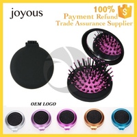 private label 5 metal color stock brush tangle free detangling hair brush with mirror Pain-free styling