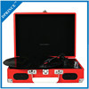 Three-Speed Portable Vinyl Turntable with Built-In Stereo Speakers and Bluetooth