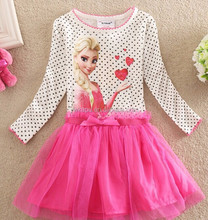 2015 china wholesale new style frozen girls pricess dresses cotton skirts