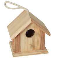 wooden small house shape pet bird house with a rope on the top