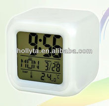 7 Color Changed Digital Table LED Alarm Clock for Promotion