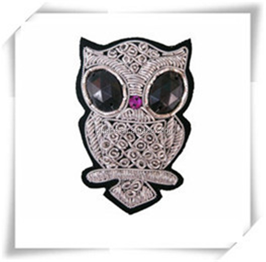 Factory direct sale self-adhesive embroidery patch,owl design embroidery patch for saree.jpg