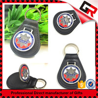 Sports competition metal keyring leather car logo