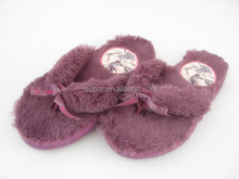 beautiful soft plush ladies bedroom flip flops with ribbon