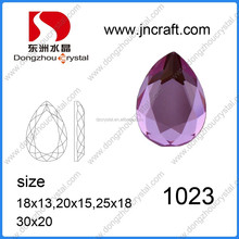new design china made lead free top quality violet drop crystal glass stones for garment accessories