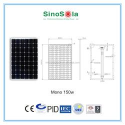 sinosola monocrystalline solar panel 150w with TUV/PID/CEC/CQC/IEC/ISO.cert