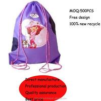 Beauty printed nylon polyester drawstring bag