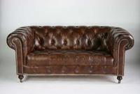 British Antique Finish Chesterfield Genuine Leather 2 Seater Sofa