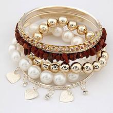 especial diseño de moda pulsera baratos de múltiples capas de perlas de imitación de la moda pulsera