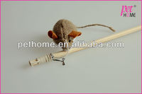 Stocked hemp cloth mouse with catnip cat toy teasing wand