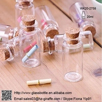 Clear Glass Bottles Vials Jars Containers Small Charm Wishing Bottle