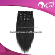 Wholesale Price 100% Virgin Brazilian Natural Black Color Clip In Hair Extension