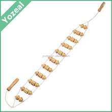 Long handle handleld natural wooden back massager belt