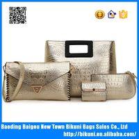 European style factory price low MOQ high quality pu women elegant luxury golden color women bags tote handbags