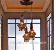 antigüedades de latón lámpara colgante de cristal