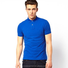 Blue Solid Color Blank Polo Shirt Slim Fit