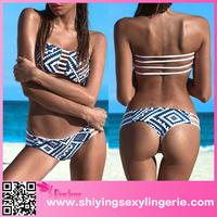 Sexy Blue White bikini swimwear bikini for mature women sexy asian women in bikini swimwear