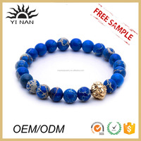 Top Sell 316L Stainless Steel Lion Head Gemstone Stretch Bangle Bracelets