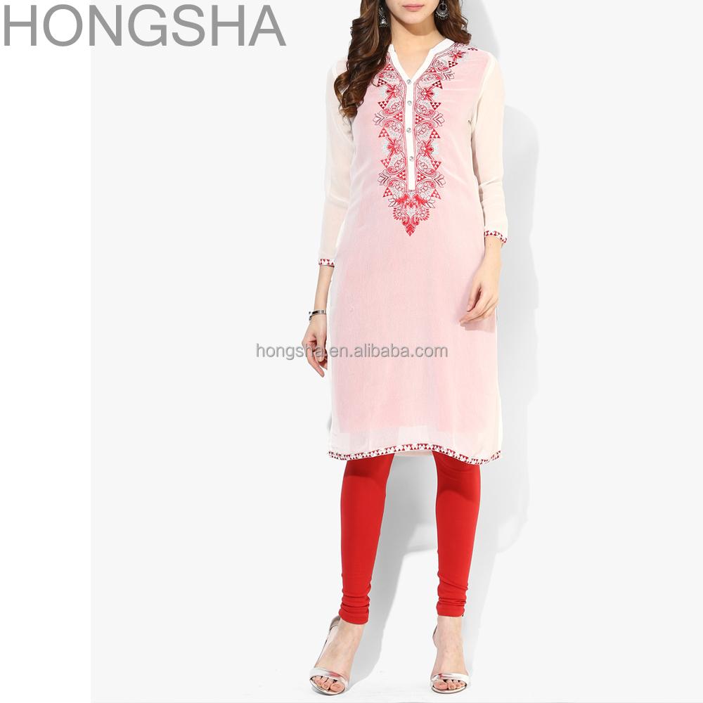 Ladies Kurta Embroidery Designs Pakistani Style Women Long Kurta Hsd1354 - Buy Ladies Kurta ...