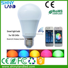 Bluetooth Wireless Control Multicolor 7w LED Smart Lighting Bulb with Speaker
