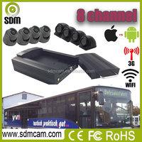 3G GPS live video transmission 4- channel vehicle mobile dvr with harddisk&SD card storage for long time recording