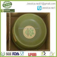 round green natural bamboo fiber pet water food bowl, bamboo fiber pet cat feeder pot
