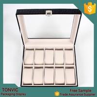Large 10 Slot Leather Watch Box Display Case Organizer Glass Top Jewelry Storage