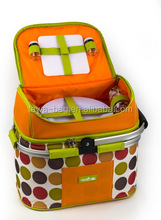 polyester fabric picnic basket insulated with aluminium frame