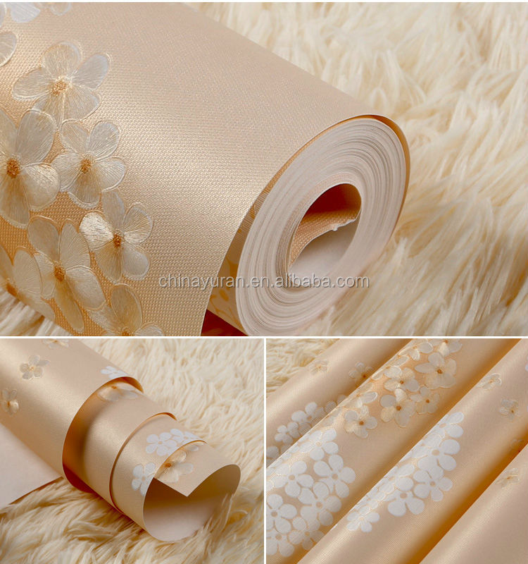 2014 Hot Sale Charming 3D for kids Flowers Korean Wallpaper