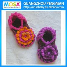Bebé recém-nascido flor sandálias, Garota verão crochê sandálias roxo laranja