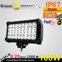 High performance 108w LED LIGHT BAR 9inch driving light bar 108w led chips waterproof IP68 2 year warranty