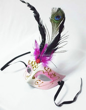 Custom fashion halloween party mask fancy feather funny masquerade mask MK4041