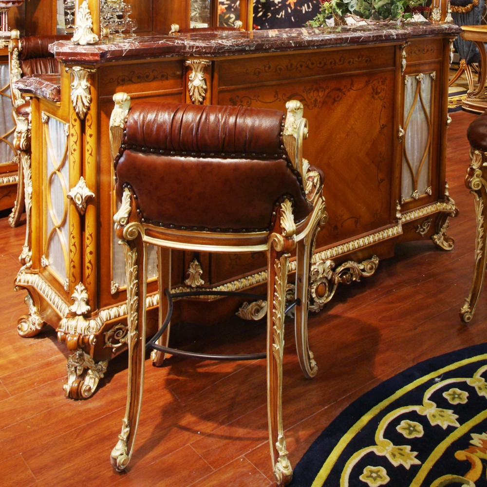 Luxury French Style Baroque Home Bar Furniture European Classic Mini Bar Wooden Hand Carved Bar