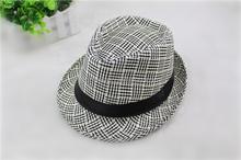 Factory wholesale 2015 cheap men England grid linen jazz fedora cap hat