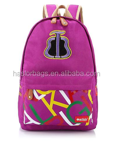 2015 populaire toile sac à dos scolaire avec haute qualité