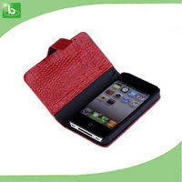 Snake skin Luxury Leather Flip Cover Wallet Case For iPhone 4 Wallet Case