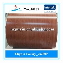 WOOD0109/china mill color coated steel coil wood grain ppgi wooden ppgi for sandwich pannel roofing sheet manufacturer factory