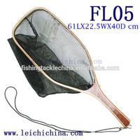 In stock fly fishing wooden frame rubber landing net
