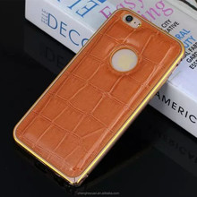 Ultra Thin Aluminum Metal Bumper Leather Back Cover Case For iphone 6 plus
