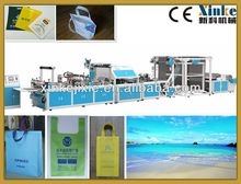 Fully automatic non woven box bag making machines with online handle attach