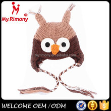 wholesale children hat animal owl pattern crochet knitting beanie hat