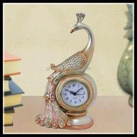 Custom Novelty Elegant Wedding Gift Desk decor Peacock Clock for Promotional Gift Manufacturer