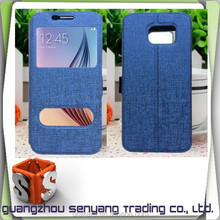 Flip PU Leather Two View Window Covers for Samsung Galaxy s6 Case