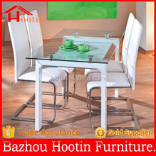 2015 most popular glass top and high glossy painting legs dining table and chairs for kitchen furniture