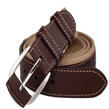 New fashion fabric durable canvas and leather travel security woman belt