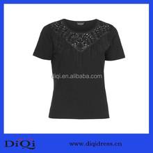 Black tassel nail bead cotton T-shirt